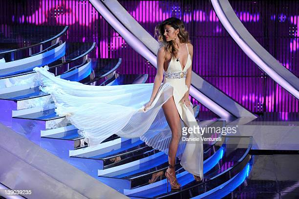 Belen Rodriguez attends the second day of the 62th Sanremo Song Festival at the Ariston Theatre on February 15 2012 in San Remo Italy