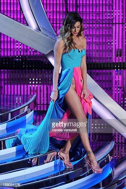Belen Rodriguez attends the second day of the 62th Sanremo Song Festival at the Ariston Theatre on February 15, 2012 in San Remo, Italy.