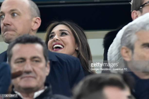 Belen Rodriguez attends the UEFA Champions League Round of 16 Second Leg match between Juventus and Club de Atletico Madrid at Allianz Stadium on...