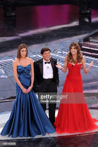 Belen Rodriguez Gianni Morandi and Elisabetta Canalis attend the 61th Sanremo Song Festival at the Ariston Theatre on February 15 2011 in San Remo...
