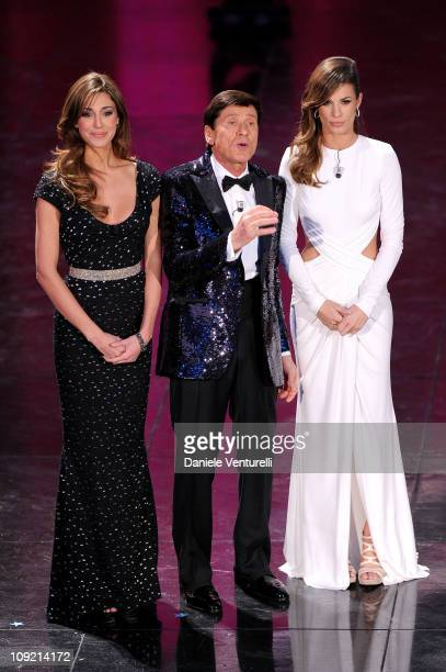 Belen Rodriguez, Gianni Morandi and Elisabetta Canalis attend the 61th Sanremo Song Festival at the Ariston Theatre on February 16, 2011 in San Remo,...