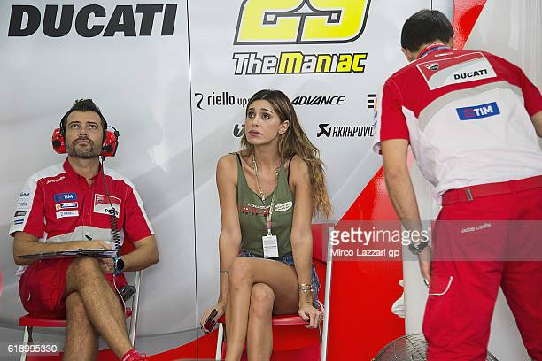 Belen Rodriguez of Argentina girfriend of Andrea Iannone of Italy and Ducati Team looks on in box during the MotoGP Of Malaysia Qualifying at Sepang...