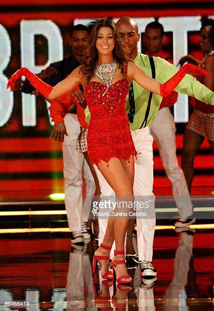Belen Rodriguez performs on the 'Chiambretti TV Show' on May 6 in Milan Italy