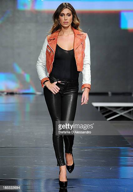 Belen Rodriguez walks the runway during Imperfect Spring/Summer 2014 Fashion Show on October 18 2013 in Milan Italy