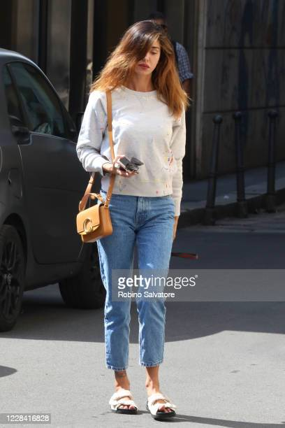 Belen Rodriguez wearing a Chloe purse and Birkenstock shoes is seen on September 8 2020 in Milan Italy