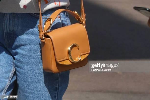 Belen Rodriguez wearing a Chloe purse is seen on September 8 2020 in Milan Italy