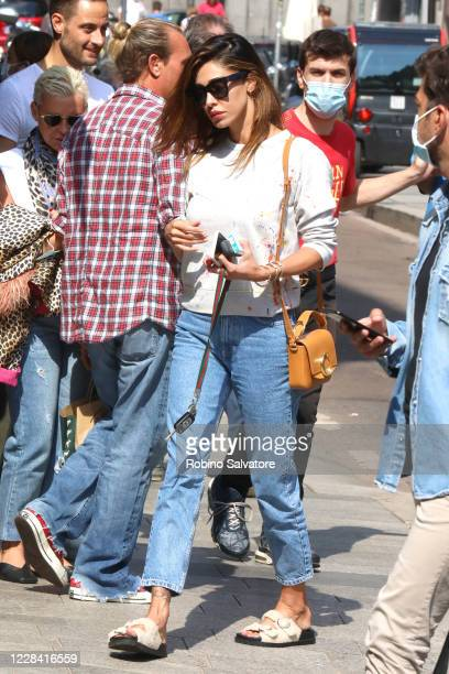 Belen Rodriguez wearing a Chloe purse JackJad glasses and Birkenstock shoes is seen on September 8 2020 in Milan Italy