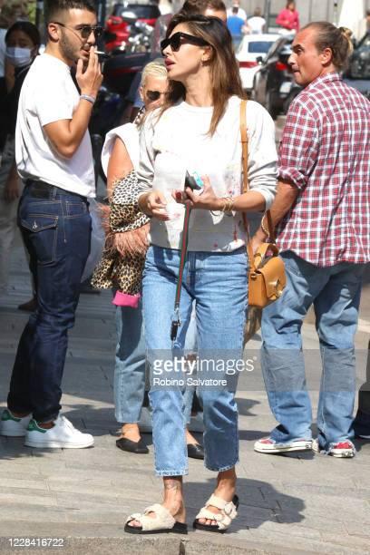 Belen Rodriguez wearing a Chloe purse JackJad sunglasses and Birkenstock shoes is seen on September 8 2020 in Milan Italy