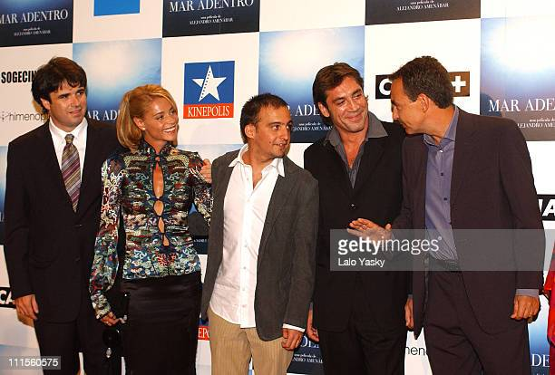 Belen Rueda Alejandro Amenabar Javier Bardem and Spain<<s Prime Minister Jose Luis Rodriguez Zapatero