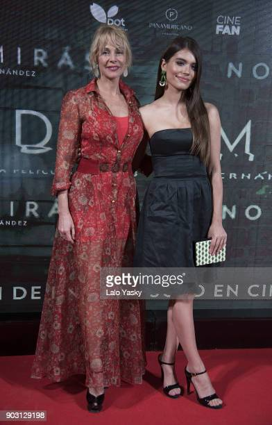 Belen Rueda and Eva De Dominici attend the 'No Dormiras' premiere at the Hoyts Dot Baires cinema on January 9 2018 in Buenos Aires Argentina