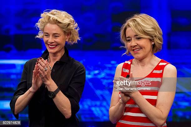 Belen Rueda and Maria Pujalte attend 'El Hormiguero' Tv show at Vertice Studio on April 21, 2016 in Madrid, Spain.