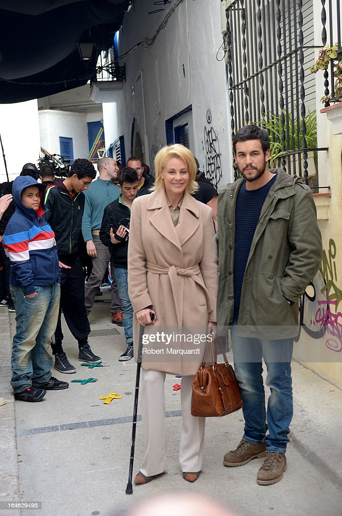 Belen Rueda (C) and Mario Casas (R) on the set of their latest film 'Ismael' on March 25, 2013 in Barcelona, Spain.