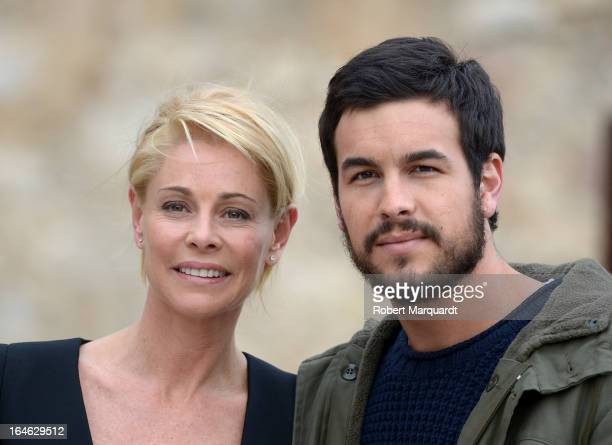 Belen Rueda and Mario Casas on the set of their latest film 'Ismael' on March 25 2013 in Barcelona Spain