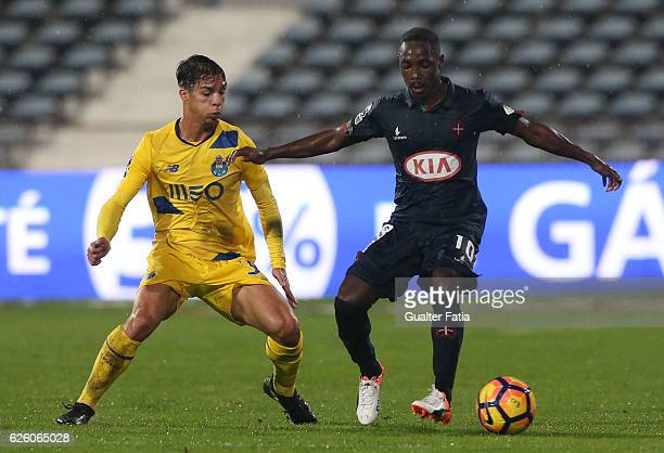 Belenenses's forward Gerso from Portugal with FC Porto's midfielder from Spain Oliver Torres in action during the Primeira Liga match between Os...