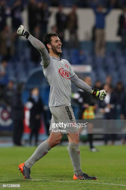 Belenenses's goalkeeper Andre Moreira celebrates the victory after the Portuguese League football match Belenenses vs FC Porto at the Restelo stadium...