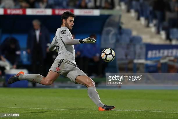 Belenenses's goalkeeper Andre Moreira in action during the Portuguese League football match Belenenses vs FC Porto at the Restelo stadium in Lisbon...
