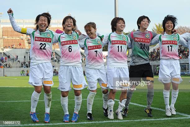 Beleza players Azusa Iwashimizu,Saori Ariyoshi,Natsuko Hara,Nanase Kiryu,Kanako Soyama,Rin Sumida celebrate after the International Women's Club...