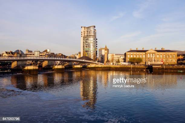 belfast architecture along river lagan - customs house belfast stock pictures, royalty-free photos & images