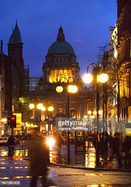 belfast city hall and donegall place - donegall square stock pictures, royalty-free photos & images