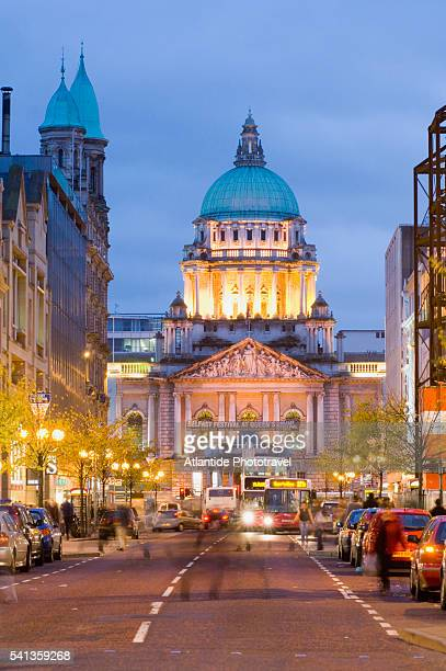 belfast city hall from donegall place - donegall square stock pictures, royalty-free photos & images