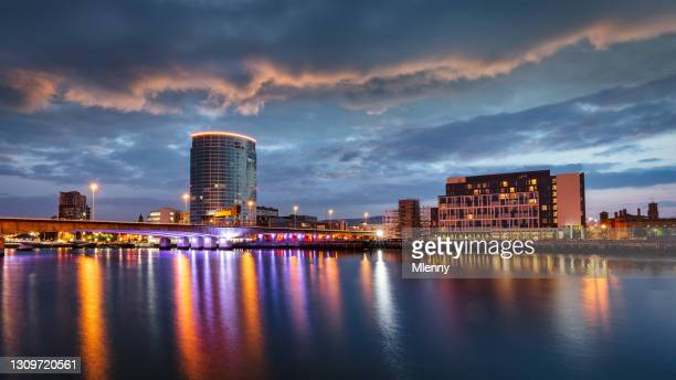 belfast city sunset panorama lagan river northern ireland - belfast stock pictures, royalty-free photos & images