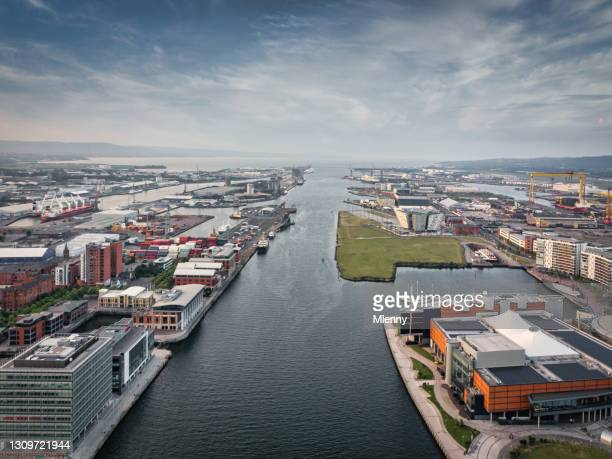 belfast cityscape river lagan mid-air view northern ireland uk - harbour stock pictures, royalty-free photos & images