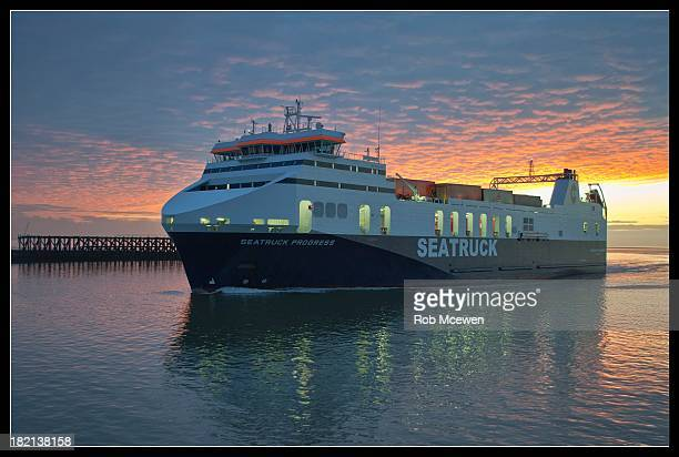 CONTENT] Belfast ferry approaching port at Heysham Harbour at sunset