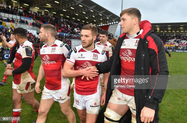 Belfast Ireland 13 January 2018 Johnny McPhillips and Matthew Rea of Ulster following the European Rugby Champions Cup Pool 1 Round 5 match between...
