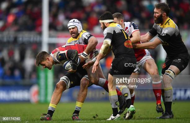 Belfast Ireland 13 January 2018 Louis Ludik of Ulster is tackled by Gregory Lamboley of La Rochelle during the European Rugby Champions Cup Pool 1...