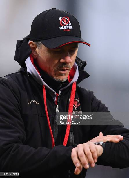 Belfast Ireland 13 January 2018 Ulster Director of Rugby Les Kiss during the European Rugby Champions Cup Pool 1 Round 5 match between Ulster and La...