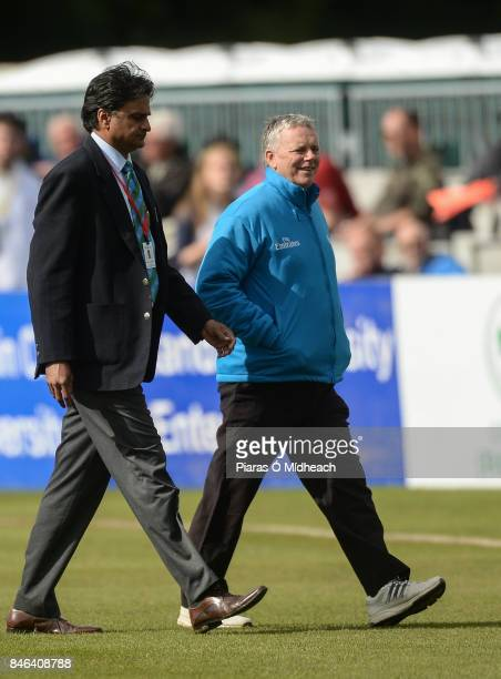 Belfast Ireland 13 September 2017 Match Referee Javagal Srinath with onfield umpire Mark Hawthorne right after inspecting the pitch before the One...