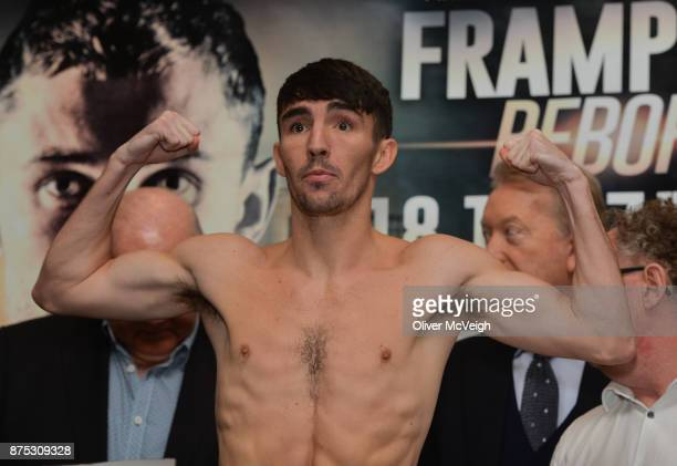 Belfast Ireland 17 November 2017 Jamie Conlan weighs in ahead of his IBF World Super Flyweight Championship bout with Jerwin Ancajas on Saturday at...
