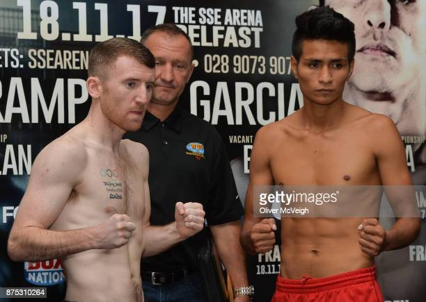 Belfast Ireland 17 November 2017 Paddy Barnes and Eliecer Quezada during the weighin ahead of their vacant WBO Intercontinental Flyweight bout on...