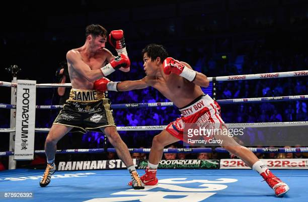 Belfast Ireland 18 November 2017 Jamie Conlan left in action against Jerwin Ancajas during their IBF World super flyweight Title bout at the SSE...