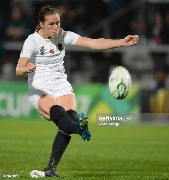 Belfast Ireland 22 August 2017 Emily Scarratt of England kicks a penalty during the 2017 Women's Rugby World Cup SemiFinal match between England and...