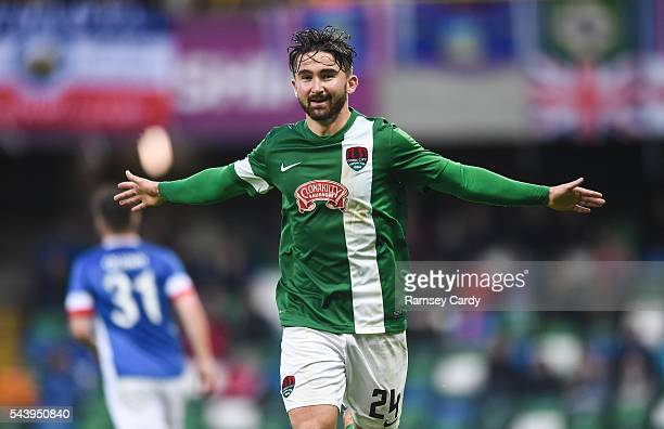 Belfast Ireland 30 June 2016 Sean Maguire of Cork City celebrates after scoring his side's first goal of the game during the UEFA Europa League First...