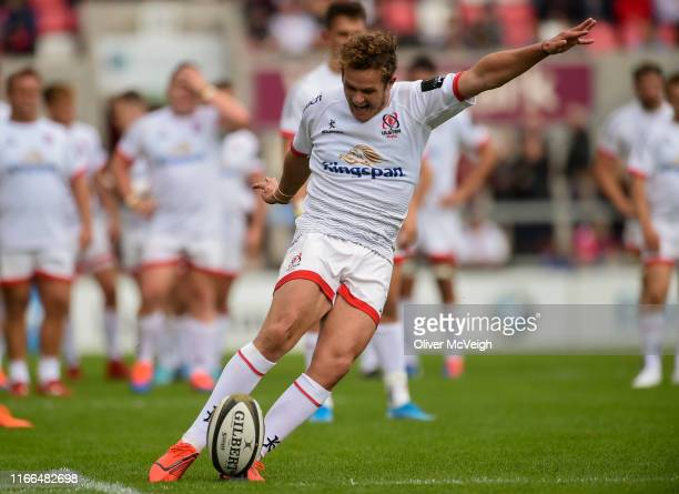 Belfast Ireland 7 September 2019 Billy Burns of Ulster kicks a conversion during the Preseason Friendly match between Ulster and Glasgow Warriors at...