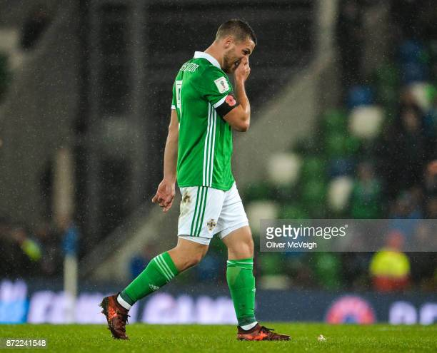 Belfast Ireland 9 November 2017 Conor Washington of Northern Ireland dejected after the FIFA 2018 World Cup Qualifier Playoff 1st leg match between...