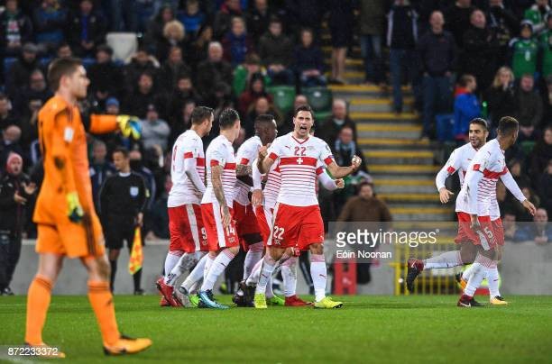 Belfast Ireland 9 November 2017 Fabian Schär of Switzerland celebrates after team mate Ricardo Rodríguez scores their side's first goal during the...