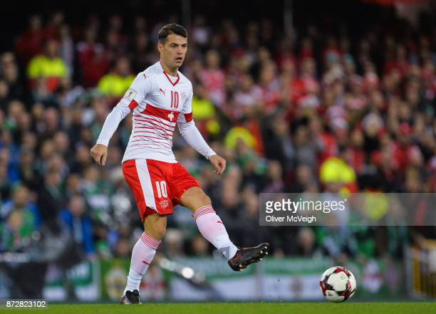 Belfast Ireland 9 November 2017 Granit Xhaka of Switzerland during the FIFA 2018 World Cup Qualifier Playoff 1st leg match between Northern Ireland...