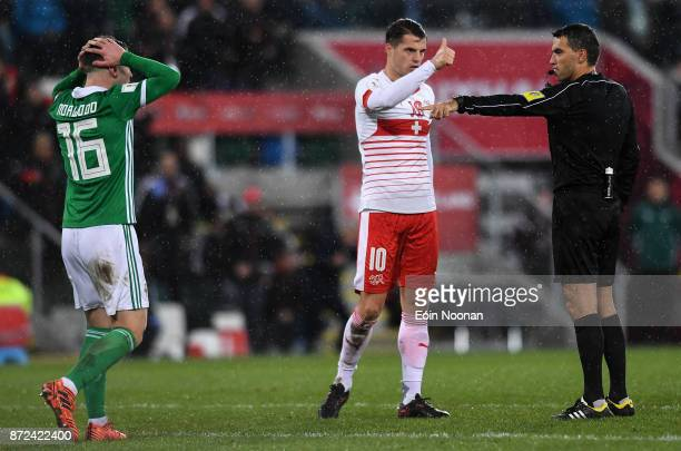 Belfast Ireland 9 November 2017 Granit Xhaka of Switzerland acknowledges Referee Ovidiu Hategan's decision to award a penalty to Switzerland during...