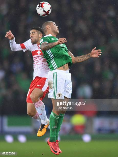Belfast Ireland 9 November 2017 Josh Magennis of Northern Ireland in action against Ricardo Rodríguez of Switzerland during the FIFA 2018 World Cup...