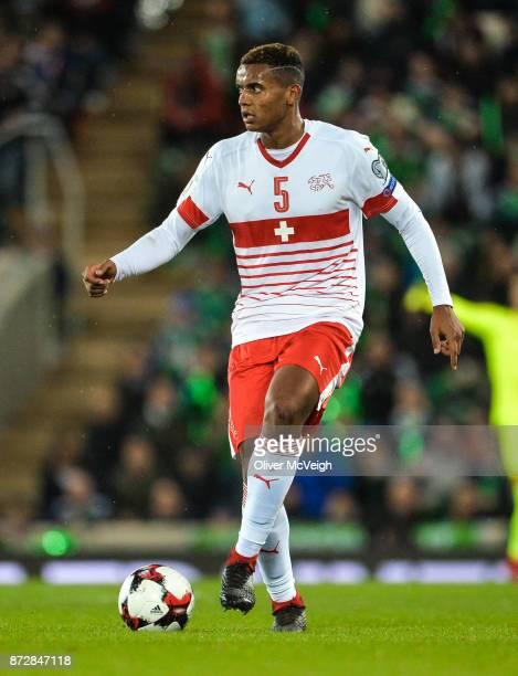 Belfast Ireland 9 November 2017 Manuel Akanji of Switzerland during the FIFA 2018 World Cup Qualifier Playoff 1st leg match between Northern Ireland...