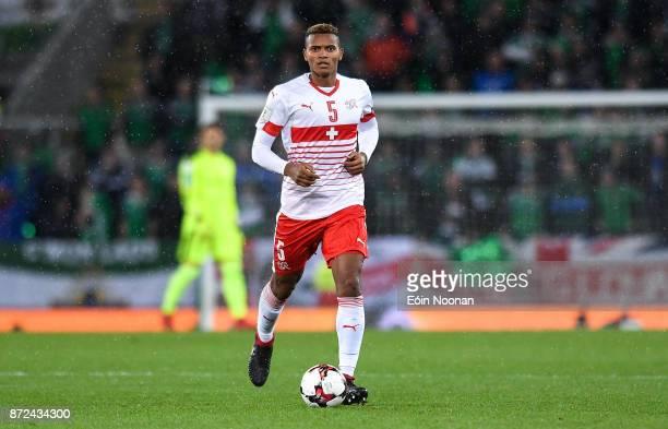 Belfast Ireland 9 November 2017 Manuel Akanji of Switzerland in action during the FIFA 2018 World Cup Qualifier Playoff 1st leg match between...
