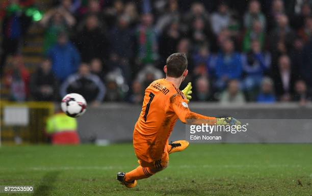 Belfast Ireland 9 November 2017 Northern Ireland goalkeeper Michael McGovern fails to save a penalty from Ricardo Rodríguez of Switzerland during the...