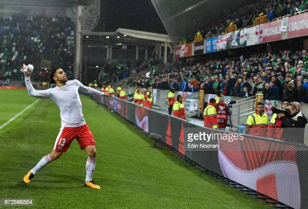 Belfast Ireland 9 November 2017 Ricardo Rodríguez of Switzerland throws his jersey into the crowd after the FIFA 2018 World Cup Qualifier Playoff 1st...