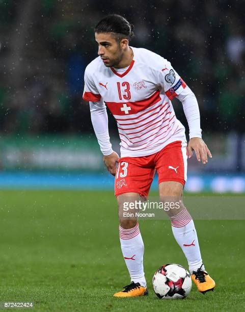 Belfast Ireland 9 November 2017 Ricardo Rodríguez of Switzerland in action during the FIFA 2018 World Cup Qualifier Playoff 1st leg match between...
