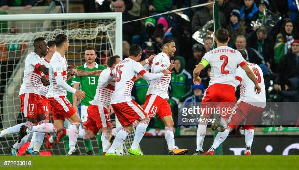 Belfast Ireland 9 November 2017 Ricardo Rodríguez of Switzerland centre celebrates with team mates after scoring his side's first goal during the...