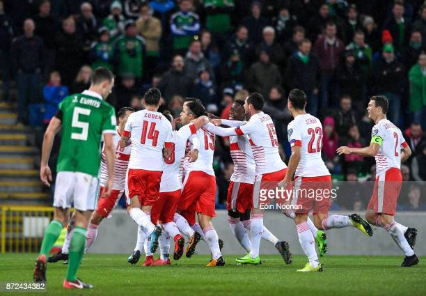 Belfast Ireland 9 November 2017 Ricardo Rodríguez of Switzerland celebrates after scoring his side's first goal of the game during the FIFA 2018...