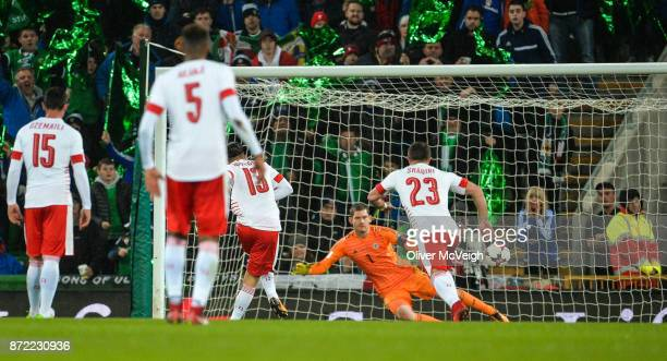 Belfast Ireland 9 November 2017 Ricardo Rodríguez of Switzerland score a penalty and his side's first goal against Michael McGovern of Northern...